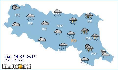 Emilia Romagna: fenomeni concentrati sui settori orientali nelle prossime ore e soprattutto in serata