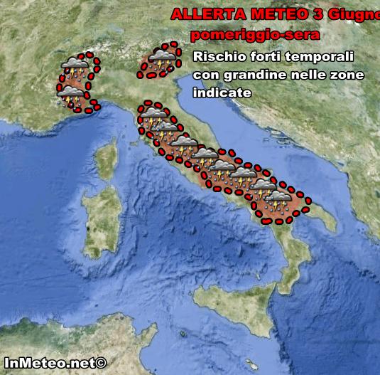 Allerta Meteo per possibili forti temporali con grandine nelle zone indicate