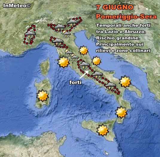 Temporali in arrivo nel pomeriggio. Anche forti tra Lazio e Abruzzo
