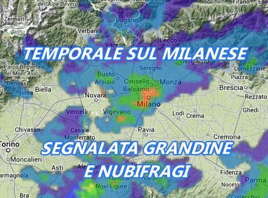 Maltempo: Forte temporale su Milano. Scatto radar intorno alle ore 17.00.