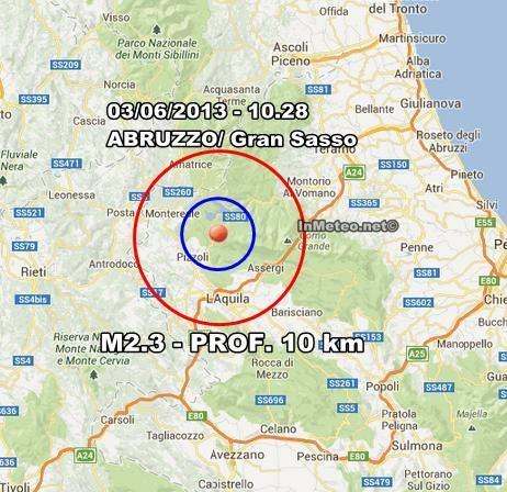INGV Terremoto Oggi : Lieve scossa in Abruzzo