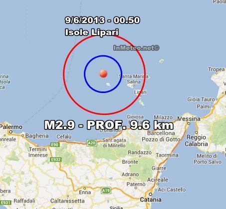 INGV Terremoto Oggi : Lieve scossa avvertite alle Lipari