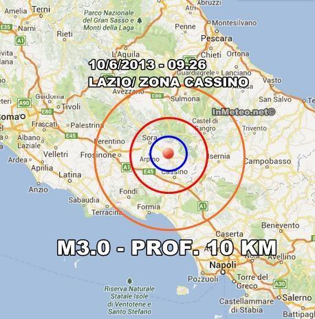 INGV Terremoto Oggi 10 Giugno : Moderata scossa nel Lazio