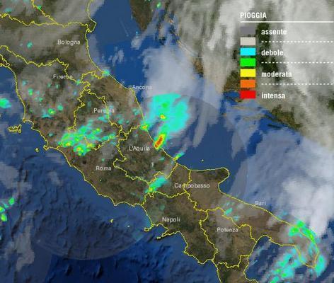 Cella temporalesca ripresa dal Satellite, sull'Abruzzo - Fonte : Protezione Civile