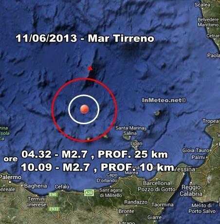 INGV Terremoto Oggi : Lievi scosse nel Mar Tirreno e in Emilia