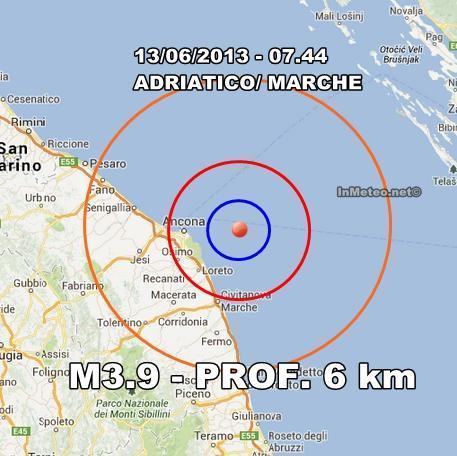 INGV Terremoto Oggi : Intensa scossa ben avvertita nelle Marche