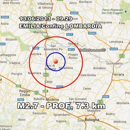 Emilia Romagna : Scossa avvertita nel modenese