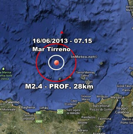 INGV Terremoto Oggi : Lieve scossa nel Tirreno