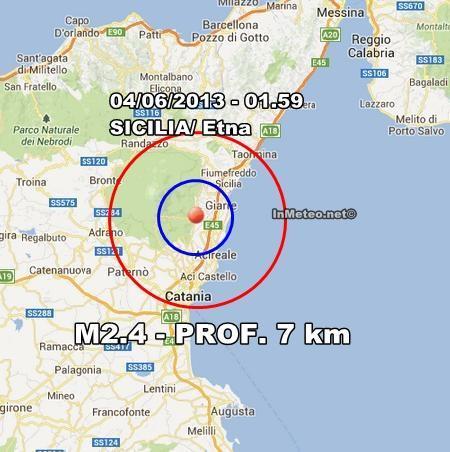 INGV Terremoto Oggi : Scossa avvertita sull'Etna