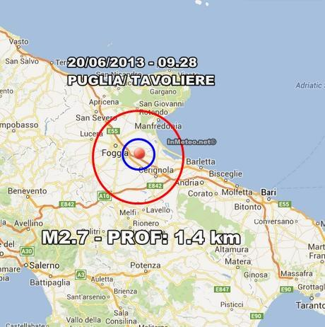 INGV Terremoto Oggi : Scossa avvertita in Puglia