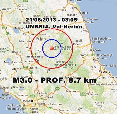 INGV Terremoto Oggi : Moderata scossa di terremoto in Umbria