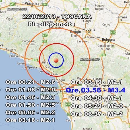 INGV Terremoto Oggi : Prosegue la sequenza sismica in Toscana