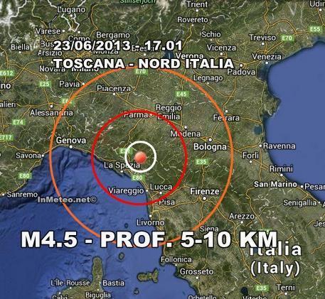 Terremoto Oggi Toscana : Forte terremoto avvertito. Dati EMCS