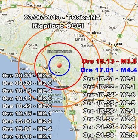 Terremoto Oggi Toscana : Riepilogo sismico