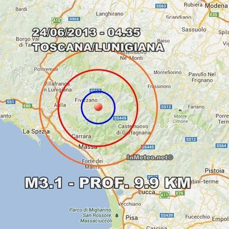 INGV Terremoto Oggi : Sciame sismico senza sosta in Toscana