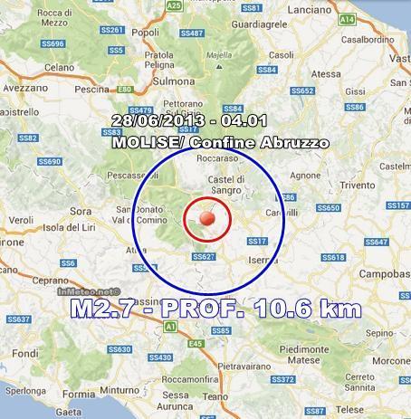 INGV Terremoto Oggi : Lieve scossa avvertita in Molise