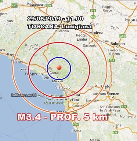 Toscana : Nuovo terremoto avvertito in mattinata