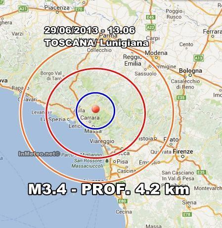 Nuova scossa di magnitudo 3.4 in Toscana