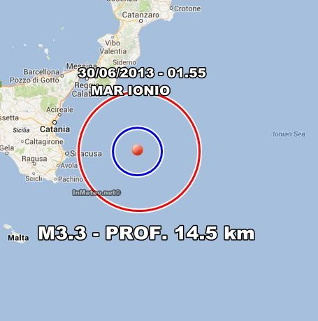 INGV Terremoto Oggi : Moderata scossa nel Mar Ionio