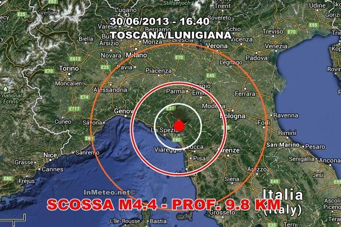 Terremoti in tempo reale : Scossa M4.4 avvertita in Toscana