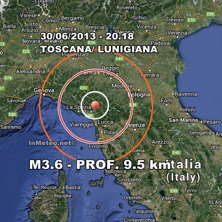 Terremoto Oggi Toscana : nuova scossa avvertita in serata