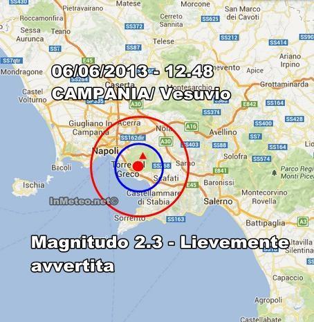 INGV Terremoto Oggi : Lieve scossa sul Vesuvio