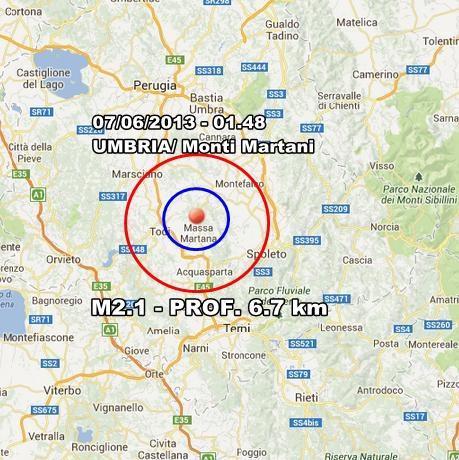 INGV Terremoto Oggi : Lieve scossa in Umbria