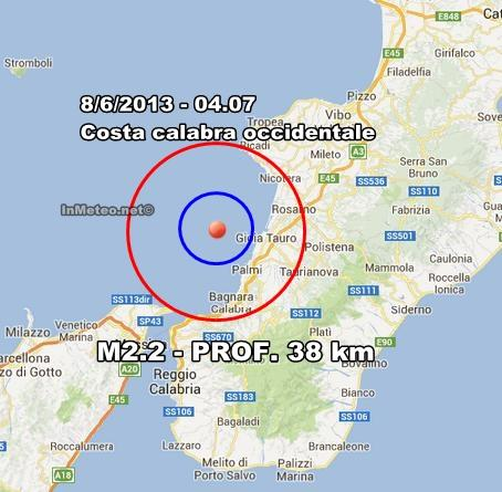INGV Terremoto Oggi : Lieve scossa in Calabria