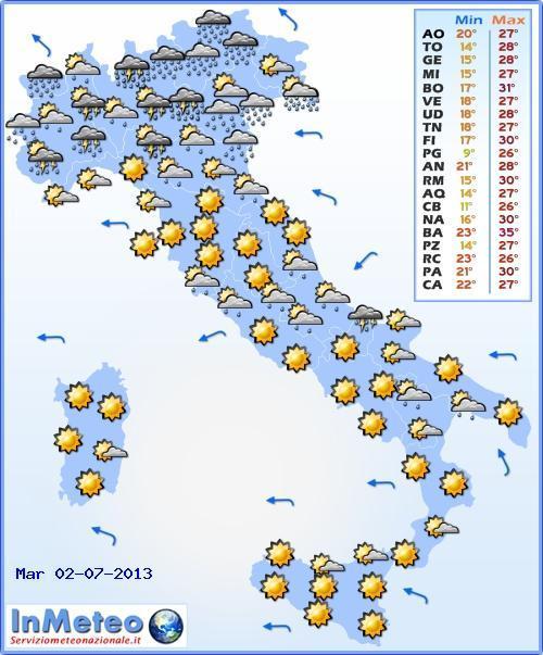 Italia: Luglio potrebbe aprirsi ancora con temporali diffusi specialmente al Nord e al Centro, e un clima gradevole, al massimo con caldo moderato