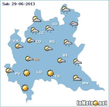 Lombardia: previsioni grafiche Sabato 29 Giugno 2013