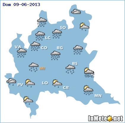 Lombardia: previsioni grafiche Domenica 9 Giugno 2013