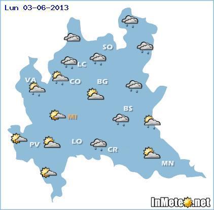 Lombardia: previsioni grafiche 3 Giugno 2013