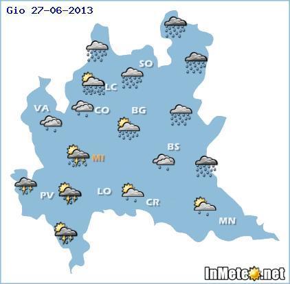 Lombardia, previsioni Giovedì: temporali anche forti,  in arrivo con tutta probabilità fra ore pomeridiane e serata. Fenomeni piu' intensi attesi sui settori meridionali ed orientali