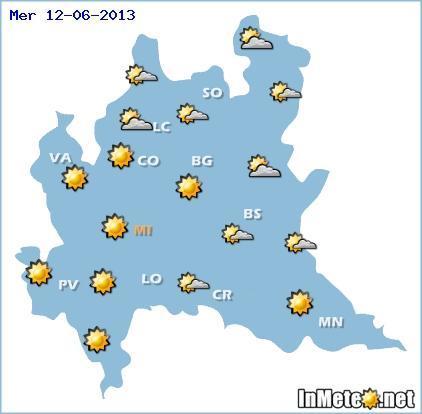 Lombardia: tempo stabile e caldo da Mercoledì sulla regione