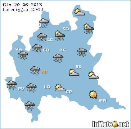 Lombardia: temporali al pomeriggio su buona parte della regione