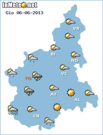 Piemonte 6 Giugno, instabilità e probabili temporali sui settori occidentali con locali sconfinamenti sulle pianure torinesi