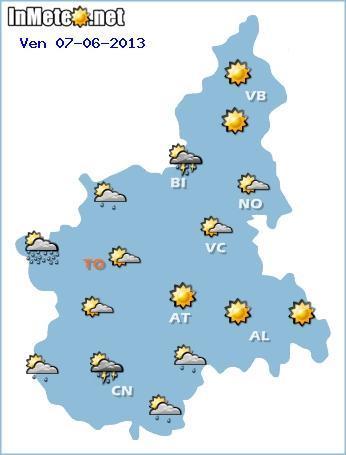 Piemonte 7 Giugno: tempo generalmente stabile ma con qualche rovescio pomeridiano sui settori occidentali e montuosi