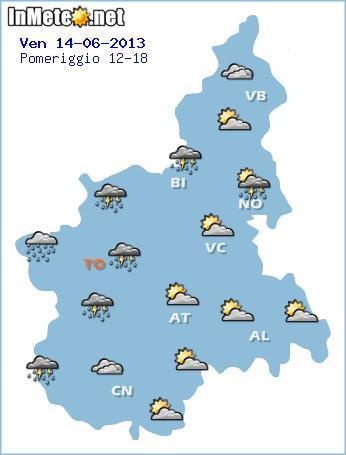 Piemonte - instabilità nella giornata di domani, poi sole e caldo intenso.