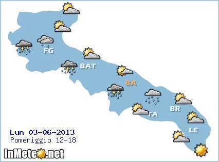 Puglia 3 Giugno: previsioni grafiche
