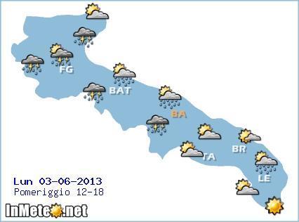 Puglia: forti temporali nelle prossime ore, specie su barese e foggiano