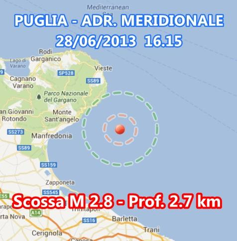 Terremoto Puglia oggi: scossa vicino al Gargano - 28 Giugno 2013