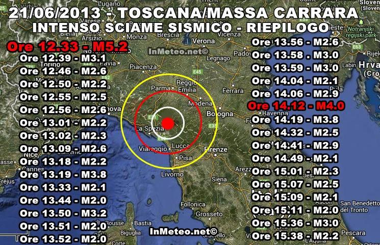 Terremoto in tempo reale: scosse in Toscana - oggi 21 Giugno 2013
