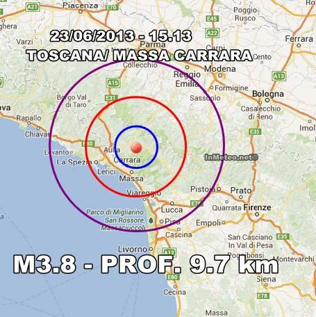 TOSCANA: nuova intensa scossa di terremoto - 23 Giugno 2013