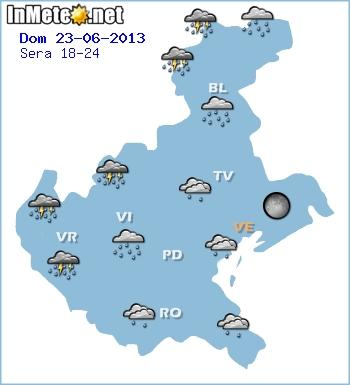 Veneto: temporali e piogge in arrivo Domenica fra pomeriggio-sera