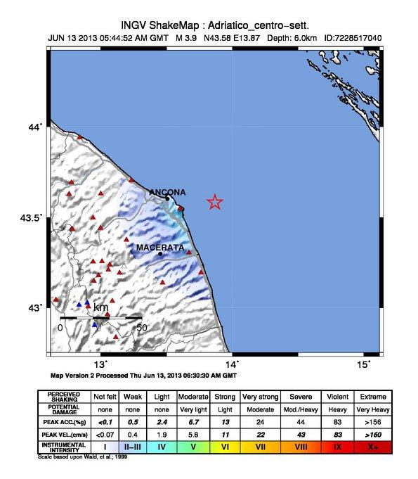 Terremoto Marche - Scuotimento sismico - INGV