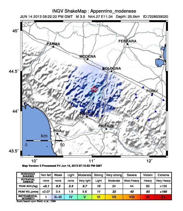 Mappa dello scuotimento sismico al suolo - INGV