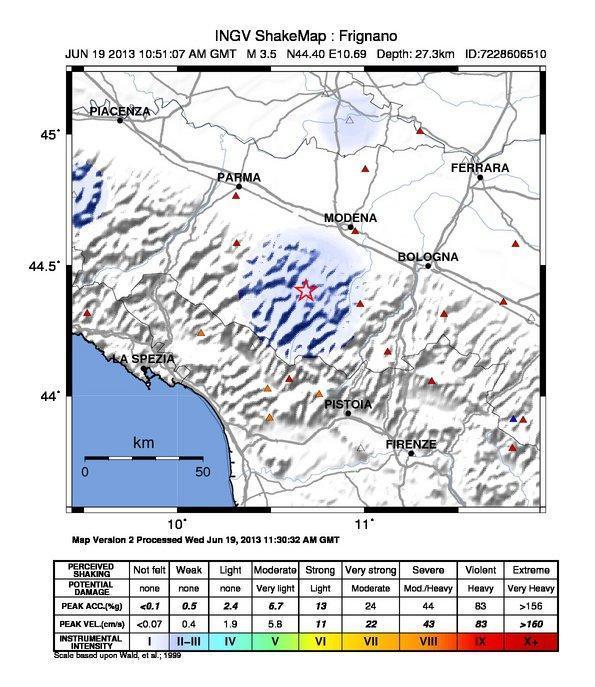 Terremoto Emilia : Mappa dello scuotimento sismico