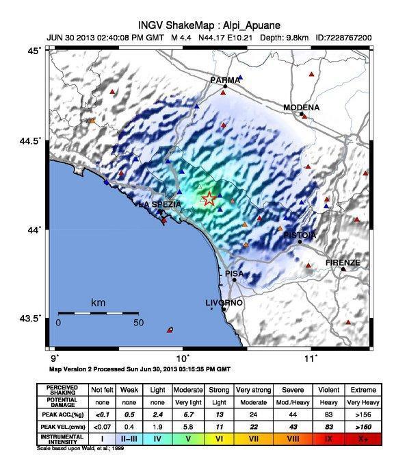 Terremoto Toscana : Mappa dello scuotimento sismico - INGV