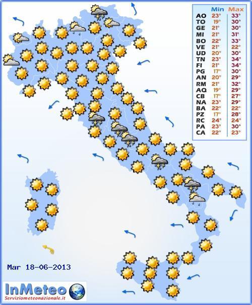 Il Meteo Italia Martedì 18 Giugno 2013, previsioni del tempo nazionali