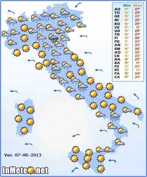 Il Meteo Italia Venerdì 7 Giugno 2013, previsioni del tempo nazionali